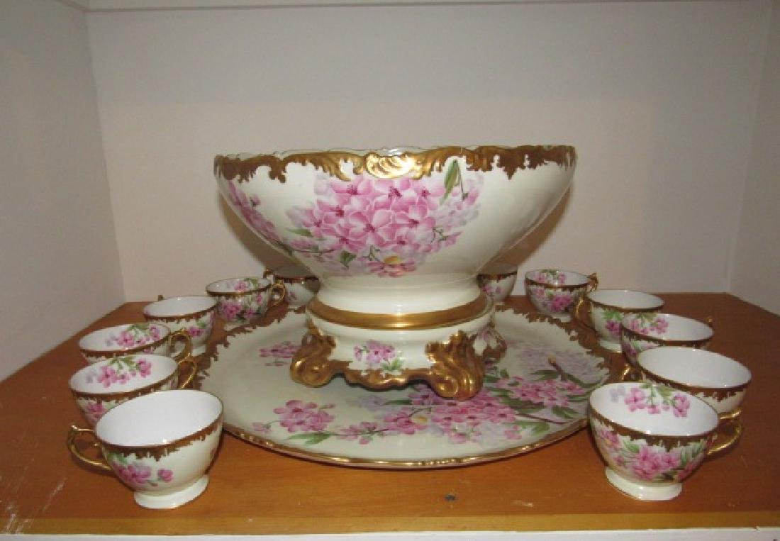 T & V Limoge Hand Painted Punch Bowl Set