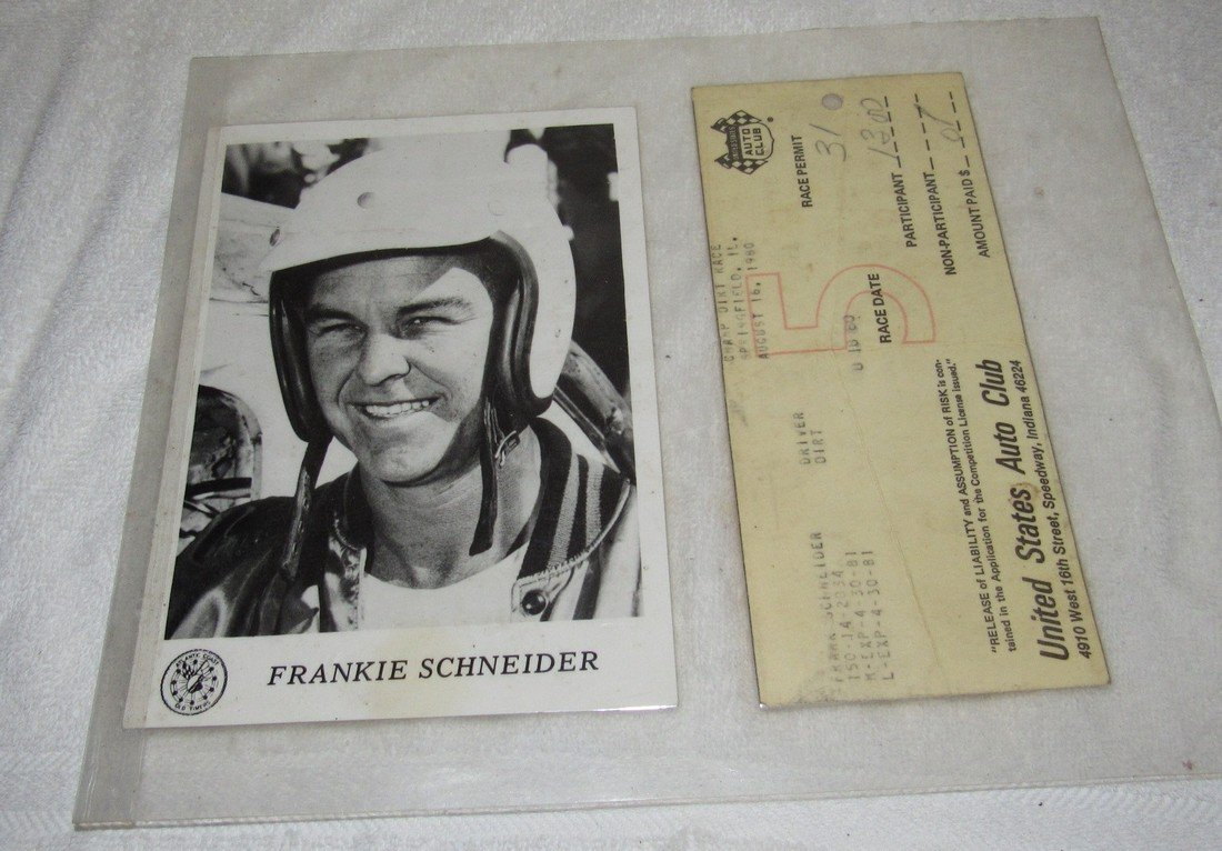 Frankie Schneider Photo & 1980 Race Permit