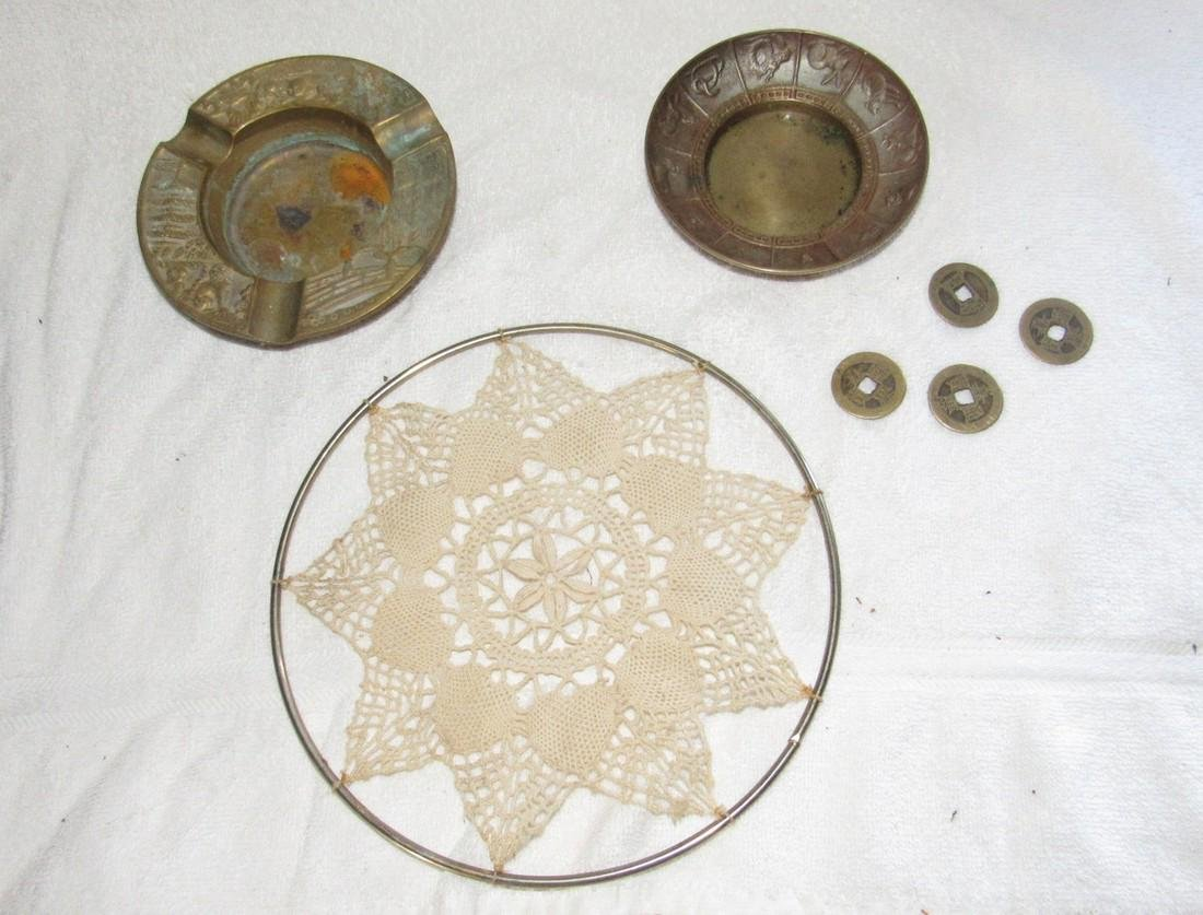 Brass Ashtrays Oriental Coins Lot