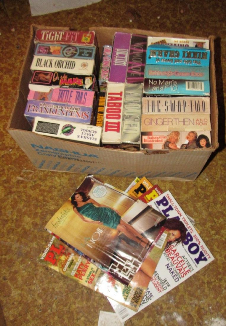 2 Boxes Adult Magazines Movies & Cards