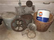Gulf Can Galvanized Can Steampunk Wheel