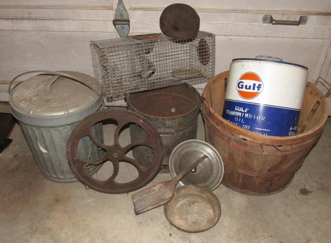 Gulf Can Galvanized Can Steampunk Wheel