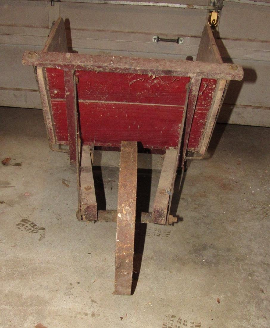 Red Painted Wooden Wheel Barrow - 3