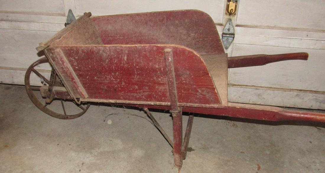 Red Painted Wooden Wheel Barrow - 4