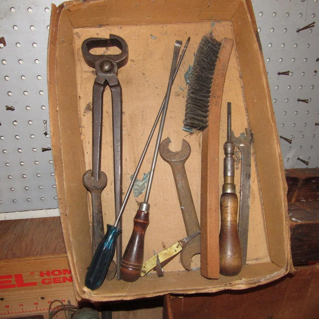 Vintage Tool Lot w/ Bait Can Car Mirror & Crate - 4