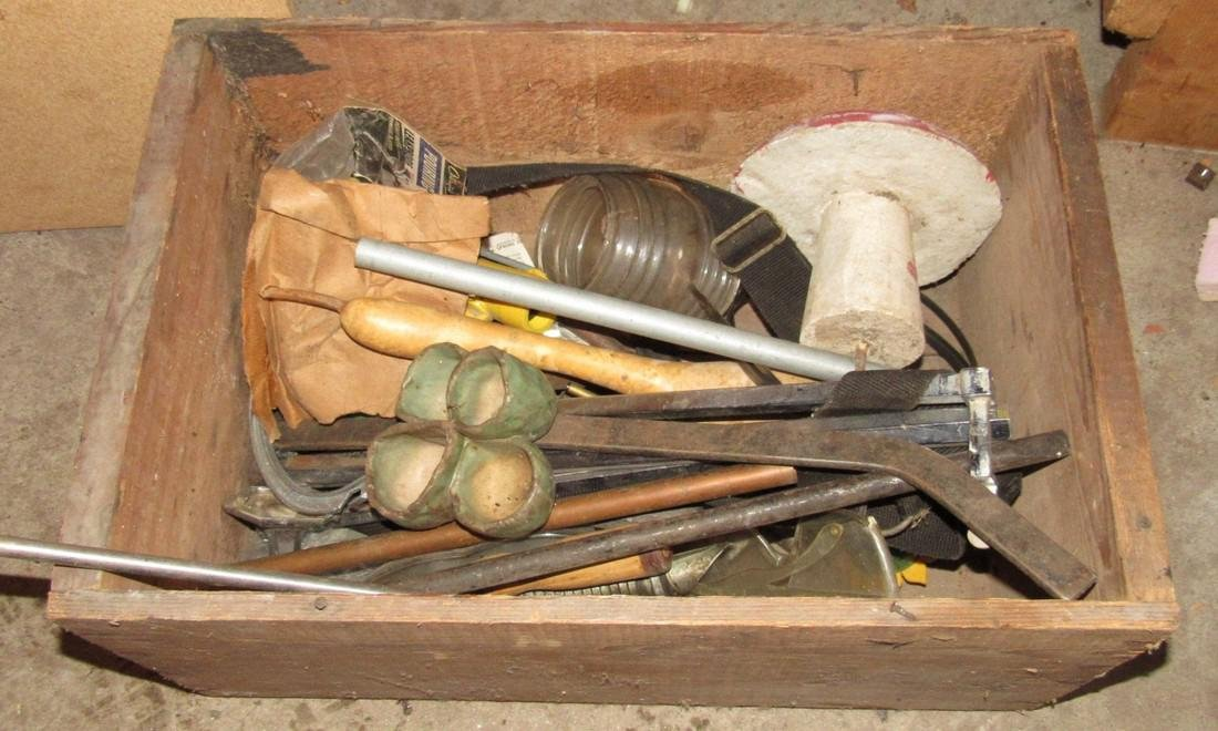 Vintage Tool Lot w/ Bait Can Car Mirror & Crate - 8
