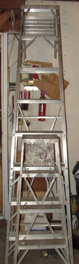 White Aluminum 8' Step Ladder & 4' Ladder