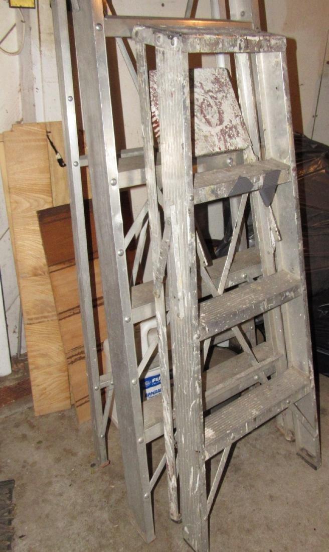 White Aluminum 8' Step Ladder & 4' Ladder - 2