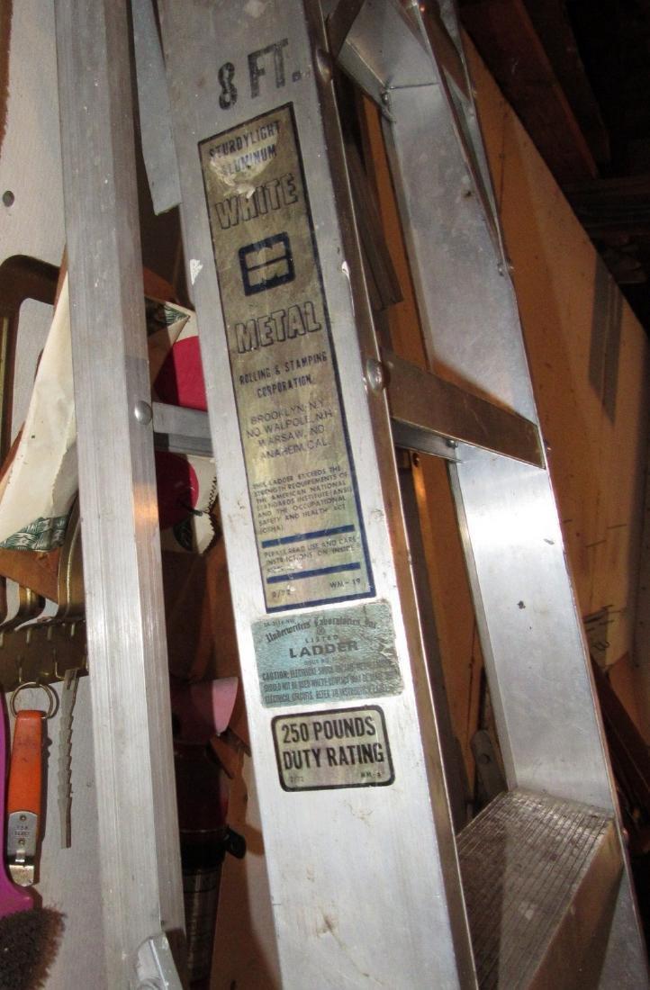 White Aluminum 8' Step Ladder & 4' Ladder - 3