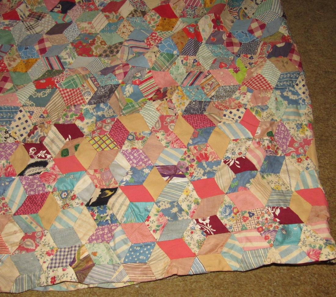 Tumbling Block Quilt Top - 2