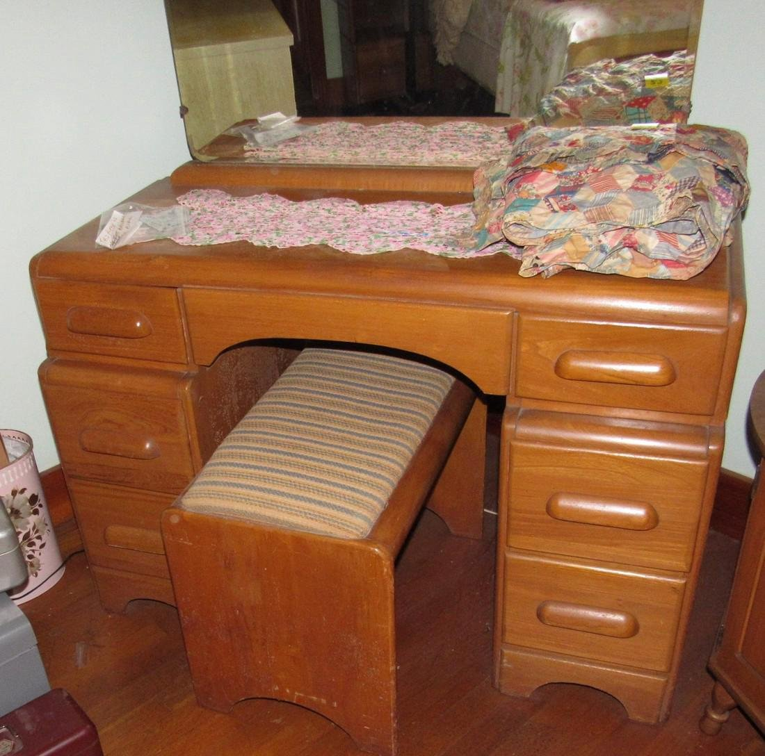 1950's Bedroom Set Vanity Dresser Bed - 6