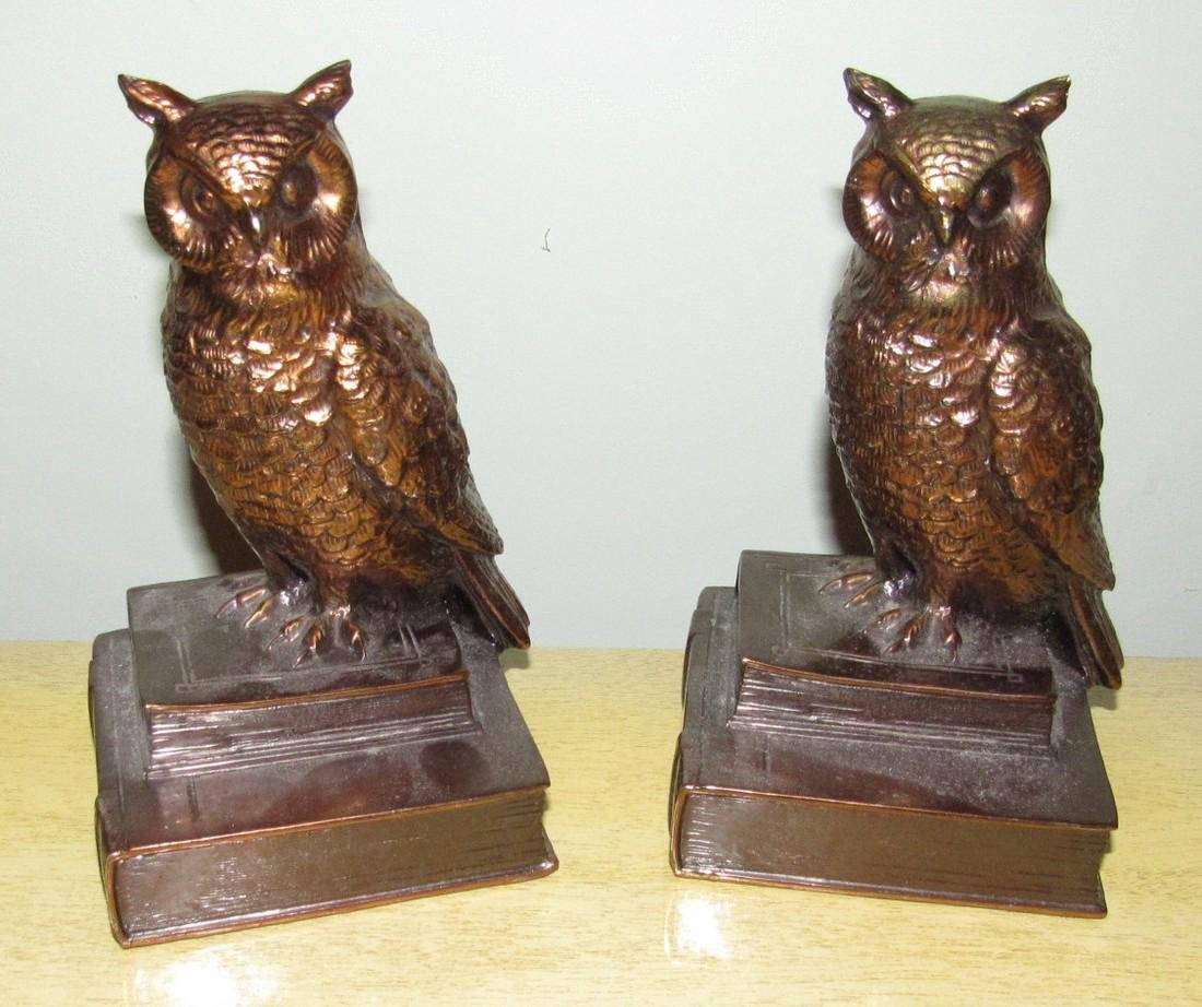 Pot Metal Owl Bookends