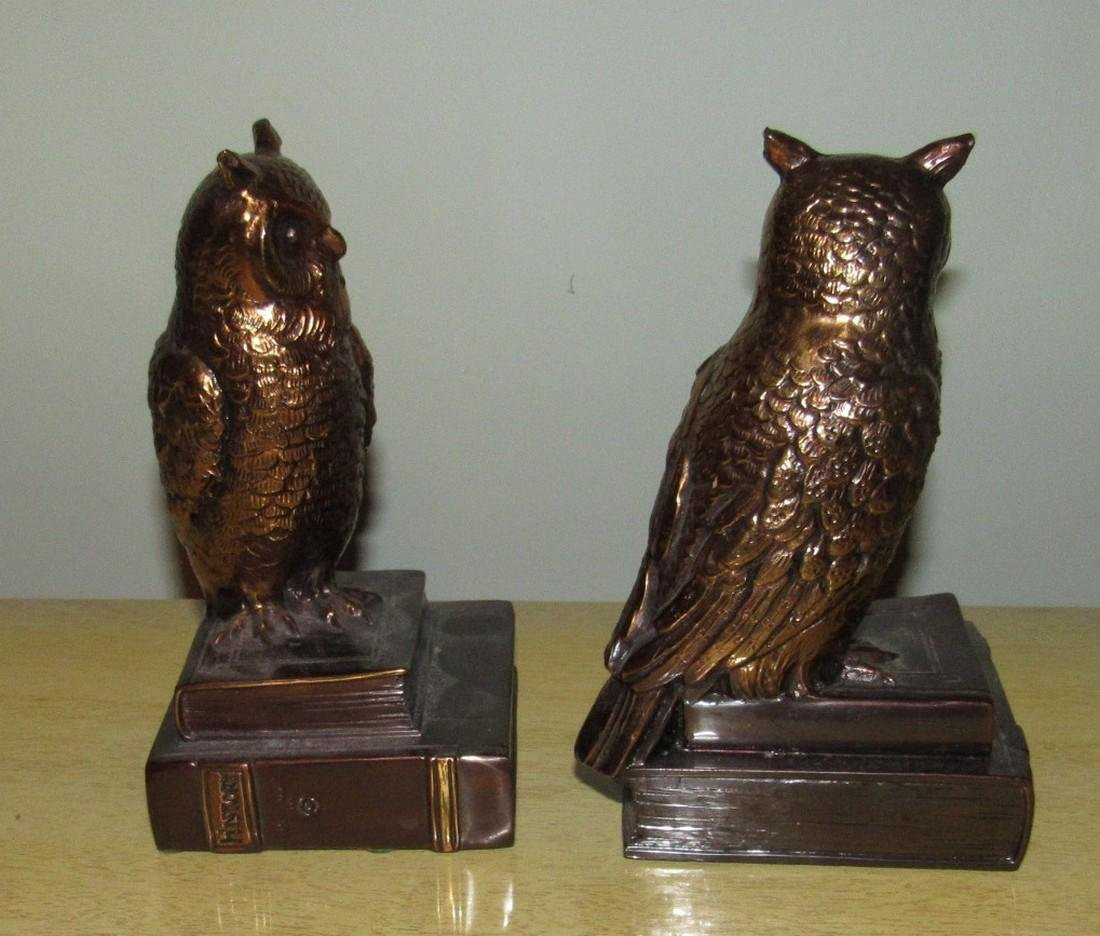 Pot Metal Owl Bookends - 2