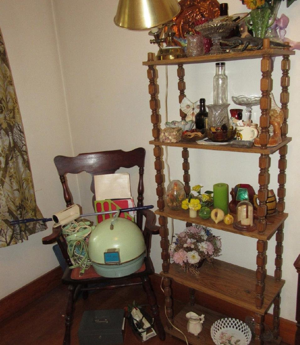 Shelf Chair Knick Knacks Glassware Lot