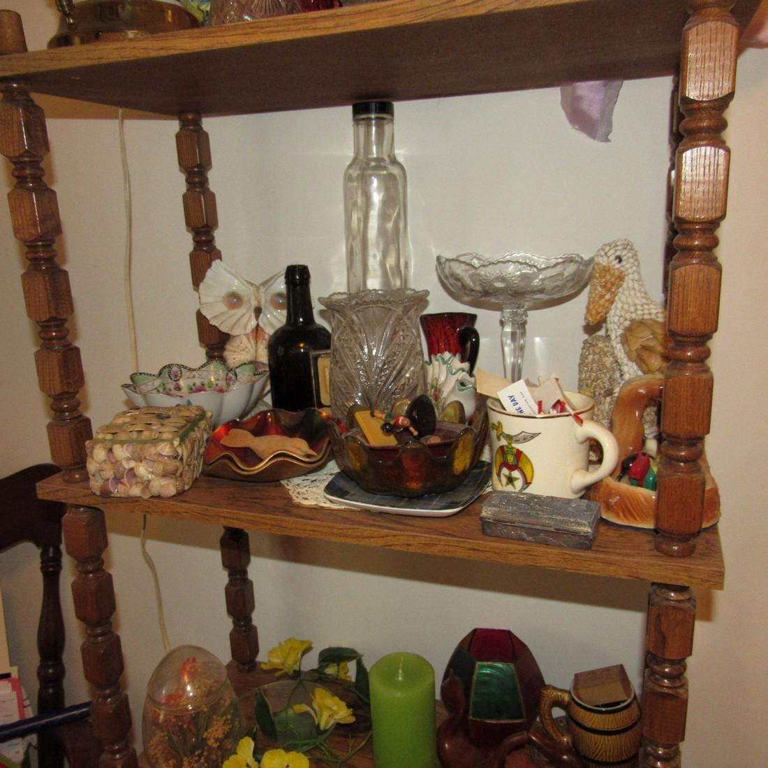 Shelf Chair Knick Knacks Glassware Lot - 3