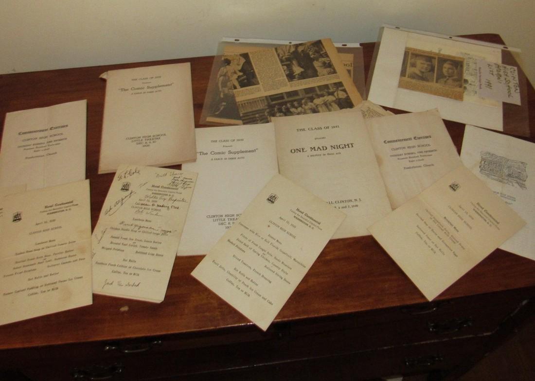 1930's & 40's Clinton NJ High School Literature