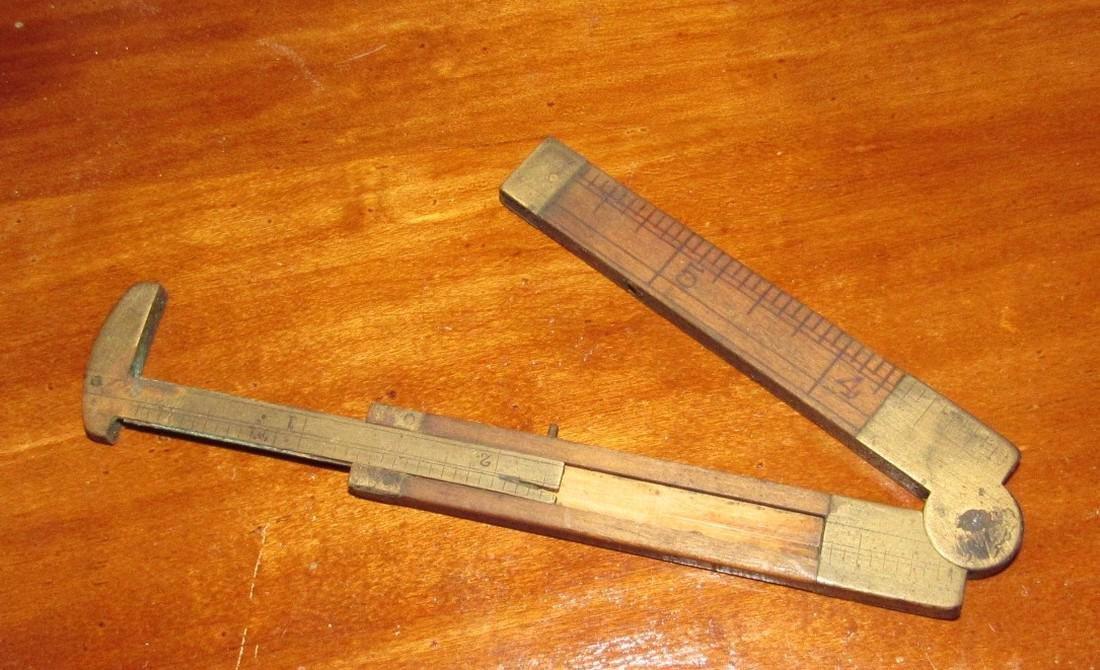 Wood & Brass Rule Lead Pencils Buttons Lot - 10