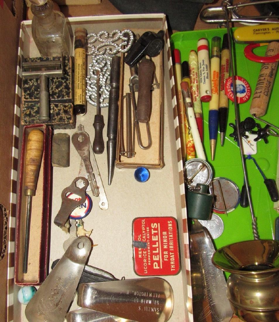 Wood & Brass Rule Lead Pencils Buttons Lot - 3