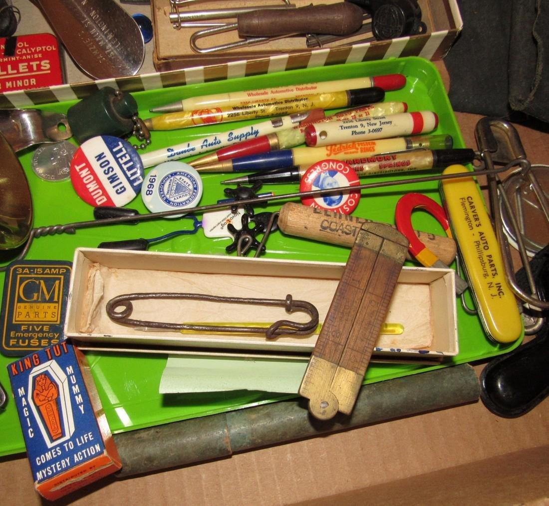 Wood & Brass Rule Lead Pencils Buttons Lot - 5