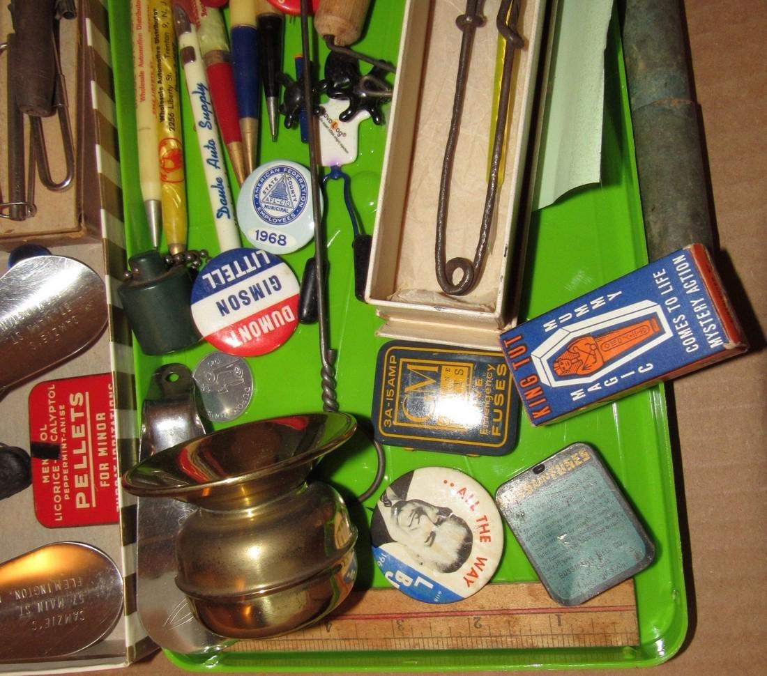 Wood & Brass Rule Lead Pencils Buttons Lot - 6