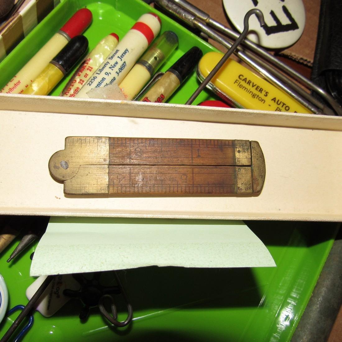 Wood & Brass Rule Lead Pencils Buttons Lot - 8