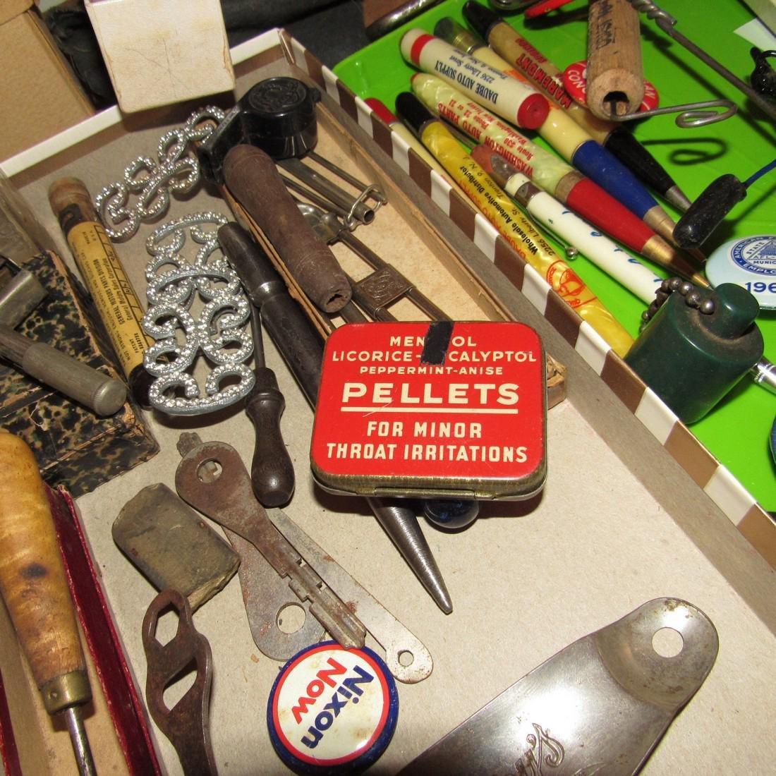 Wood & Brass Rule Lead Pencils Buttons Lot - 9