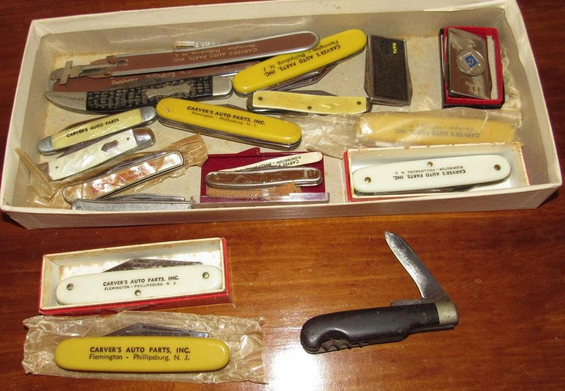 Large Lot of Pocket Knives Carvers Auto Parts