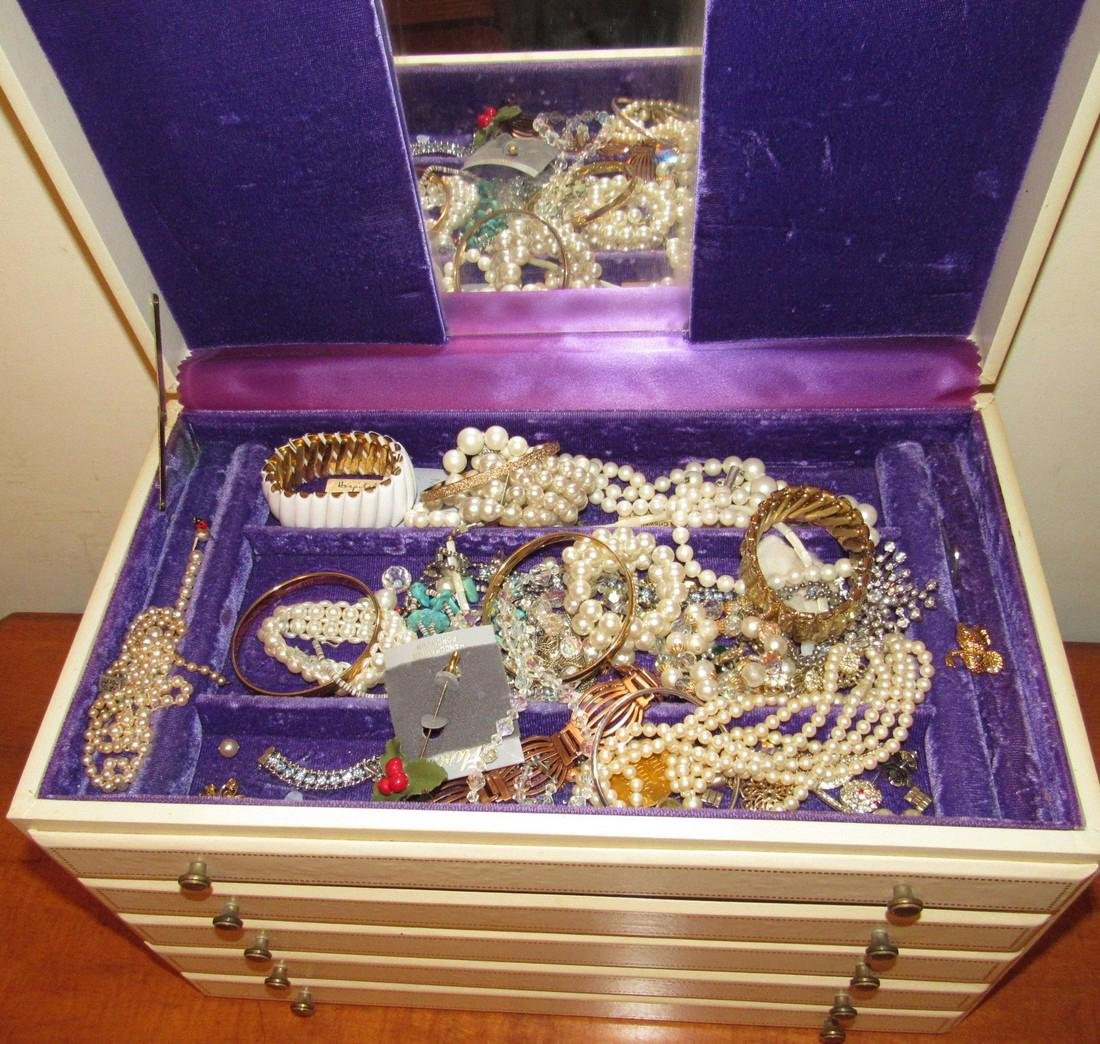 Large Jewelry Box Filled w/ Bracelets Necklaces