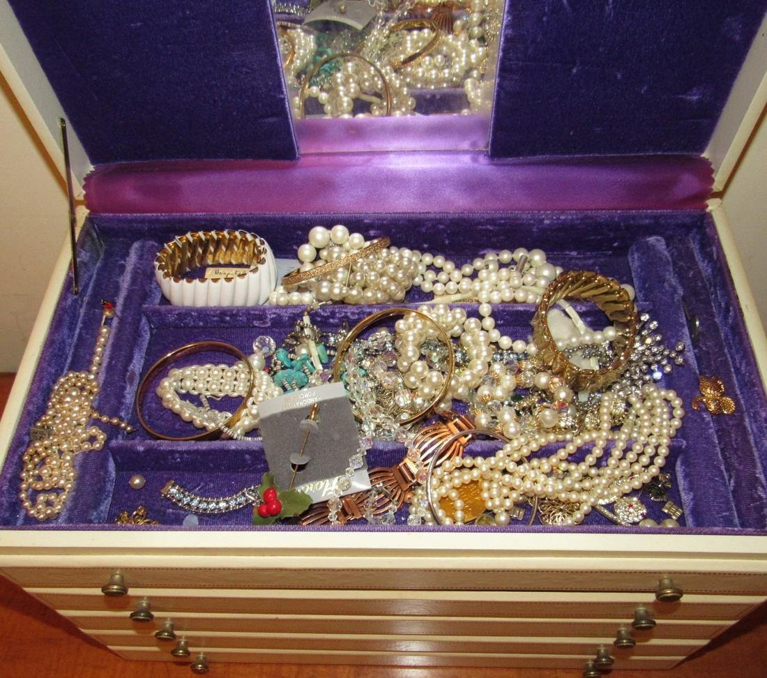 Large Jewelry Box Filled w/ Bracelets Necklaces - 2