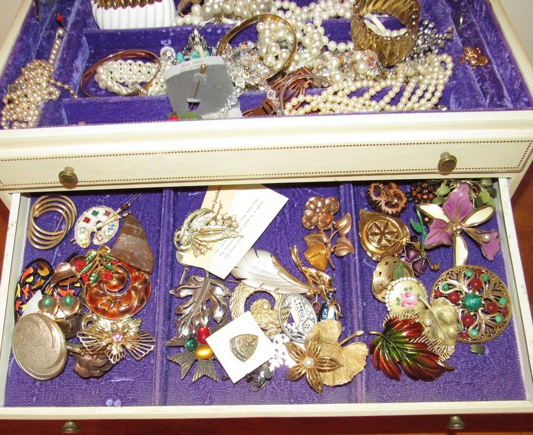 Large Jewelry Box Filled w/ Bracelets Necklaces - 3