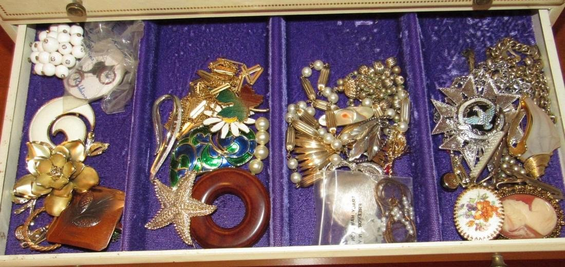 Large Jewelry Box Filled w/ Bracelets Necklaces - 4