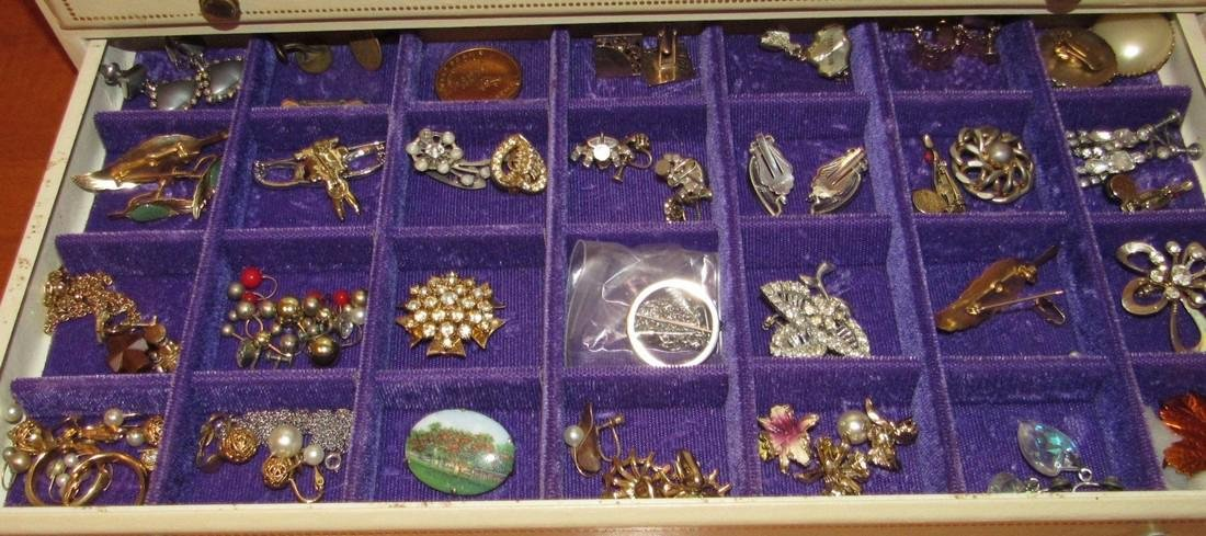 Large Jewelry Box Filled w/ Bracelets Necklaces - 6