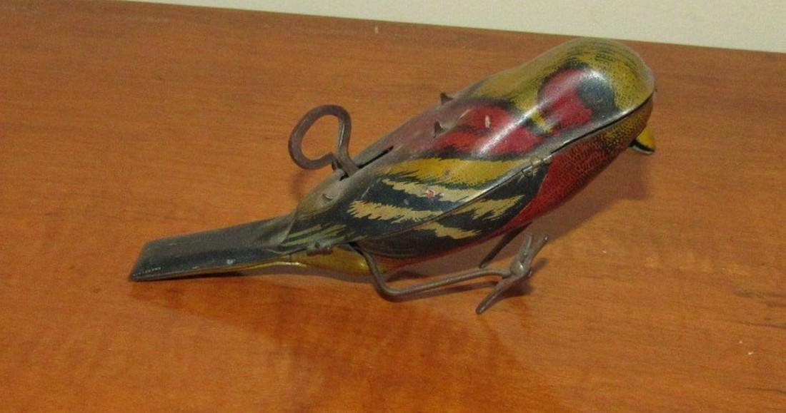 1927 Tin Wind Up Bird Parakeet Toy