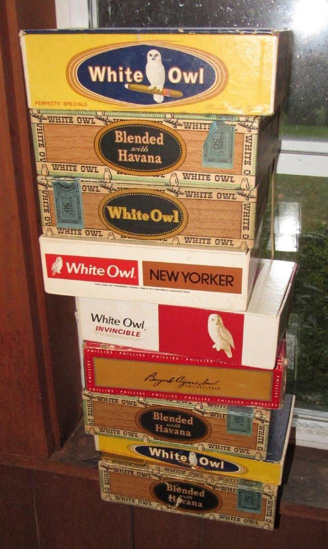 9 Vintage Cigar Boxes White Owl