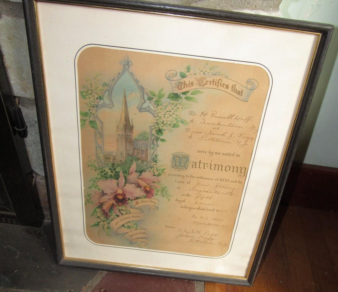 1921 Pittstown NJ Hoff Marriage Certificate