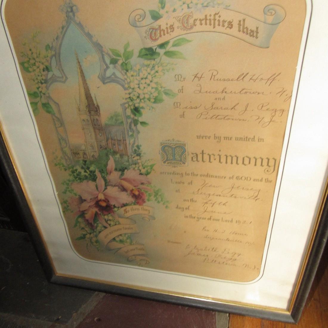 1921 Pittstown NJ Hoff Marriage Certificate - 2