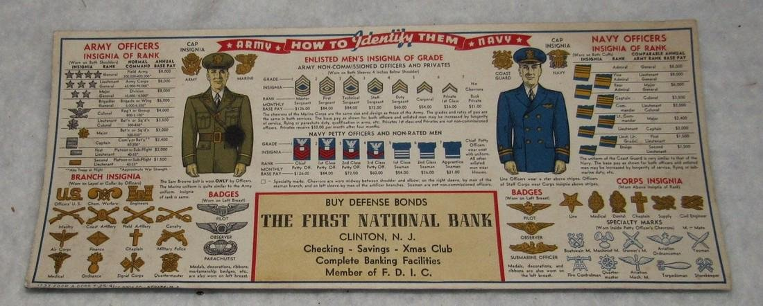 Clinton NJ Bank Army Navy Ink Blotter Card