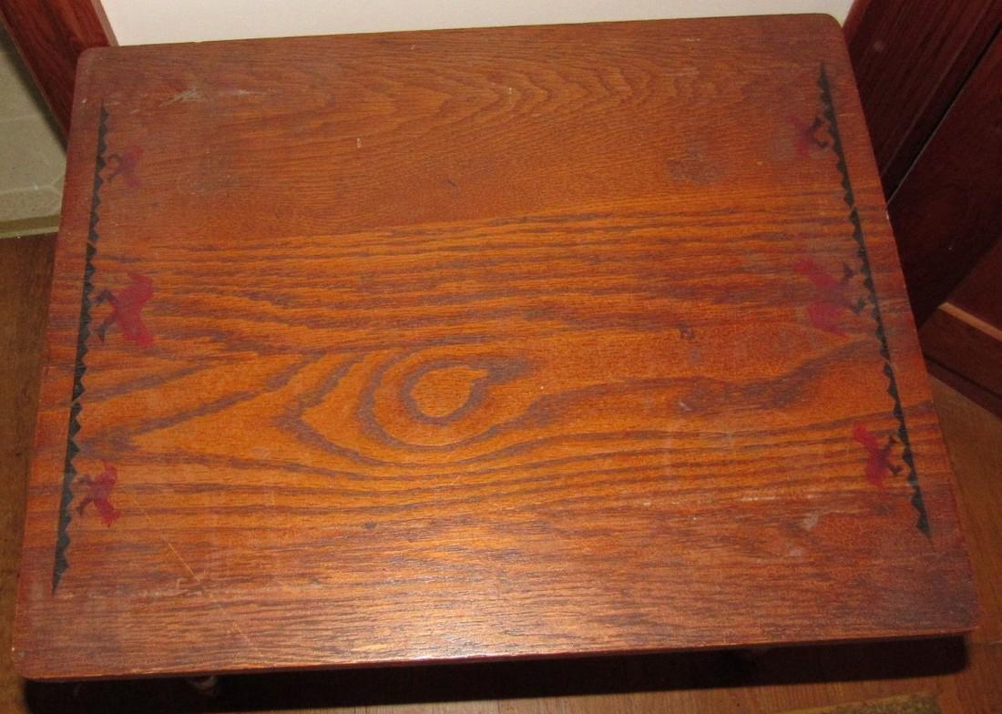 Oak Childs Table w/ Animal Stencils - 3