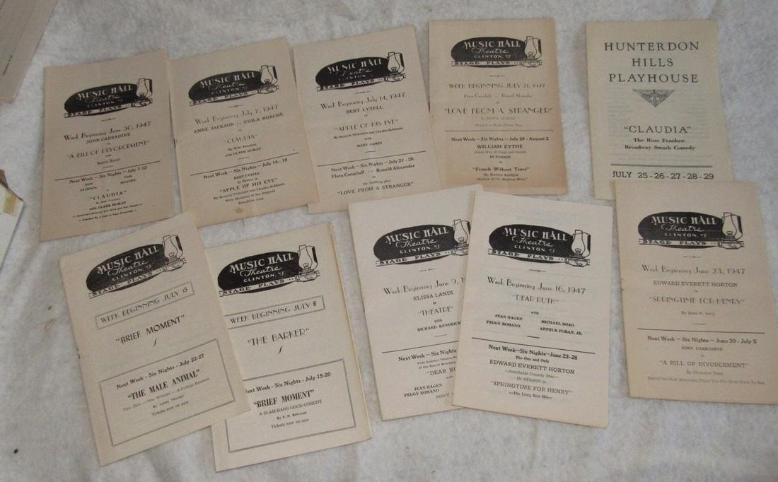 1940's Music Hall Clinton NJ Play Bills