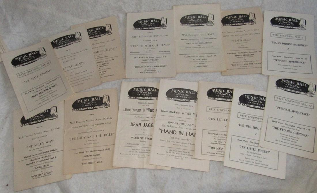 1940's Music Hall Clinton NJ Play Bills - 2