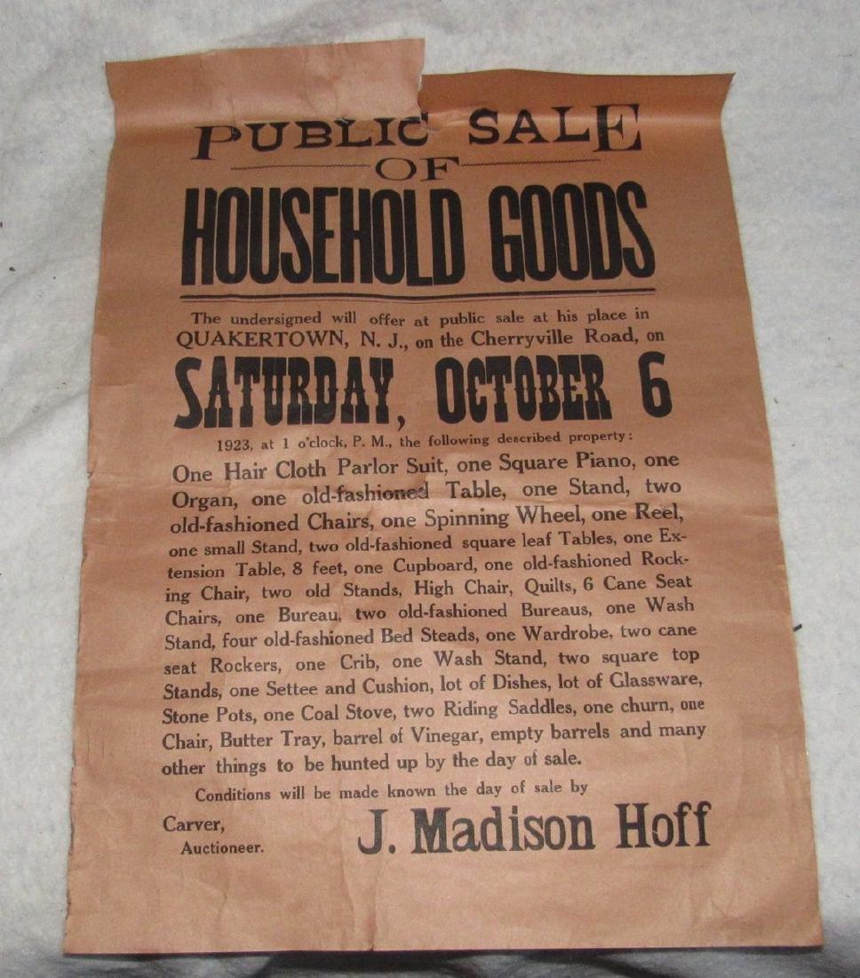Quakertown NJ Auction Broad Broadside  Poster