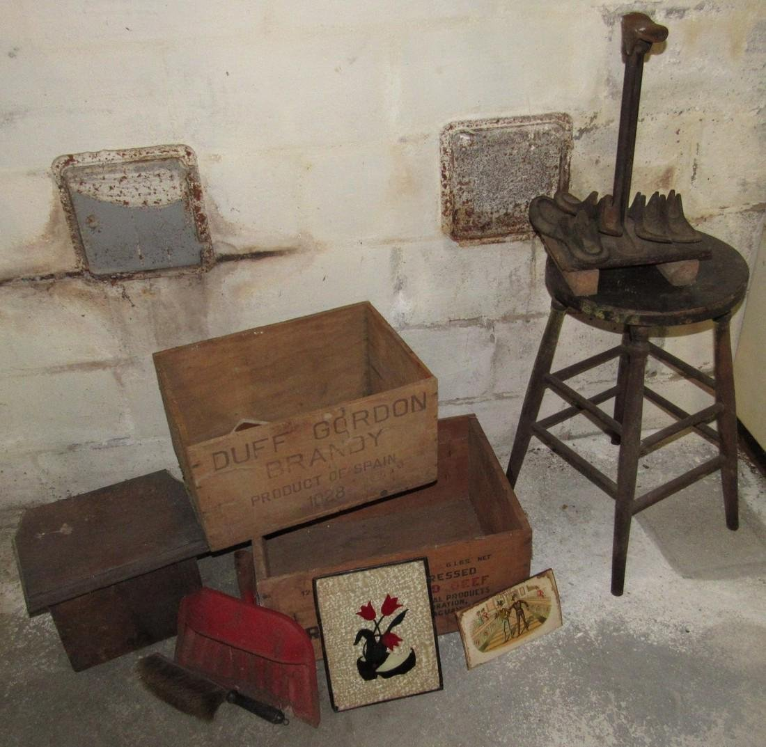 Wood Crates Oak Stool Shoe Makers Anvil Lot