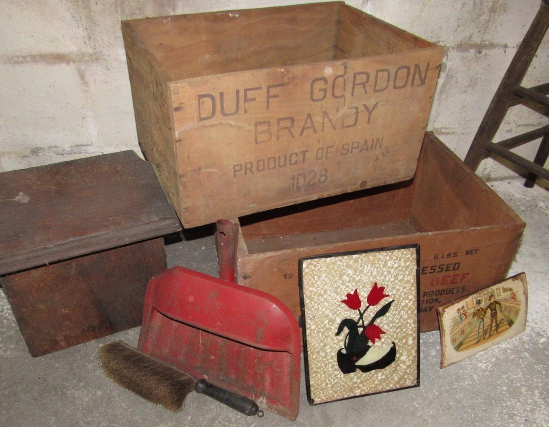 Wood Crates Oak Stool Shoe Makers Anvil Lot - 2