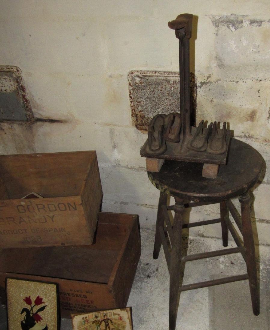 Wood Crates Oak Stool Shoe Makers Anvil Lot - 3