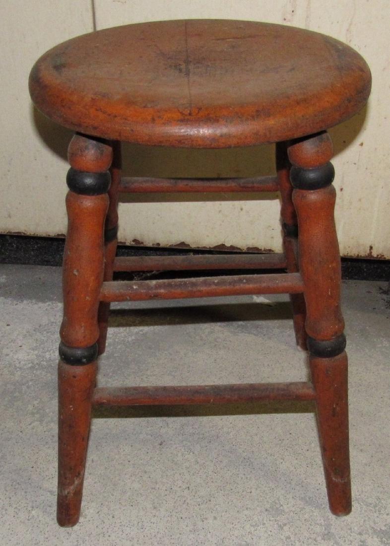 Primitive Orange Painted Stool