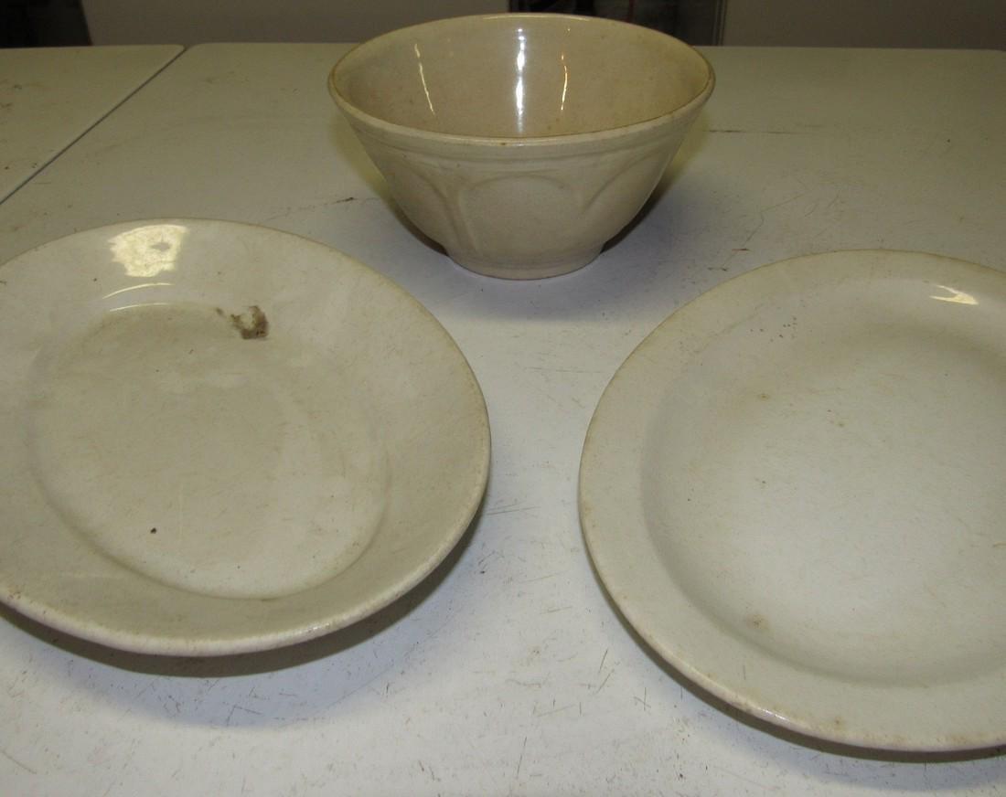 Ironstone Platters & Mixing Bowl - 2
