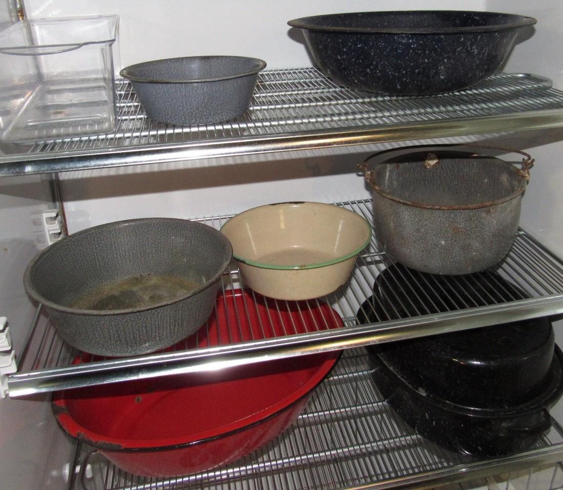 Lot of Agateware Pots Pans Misc - 3