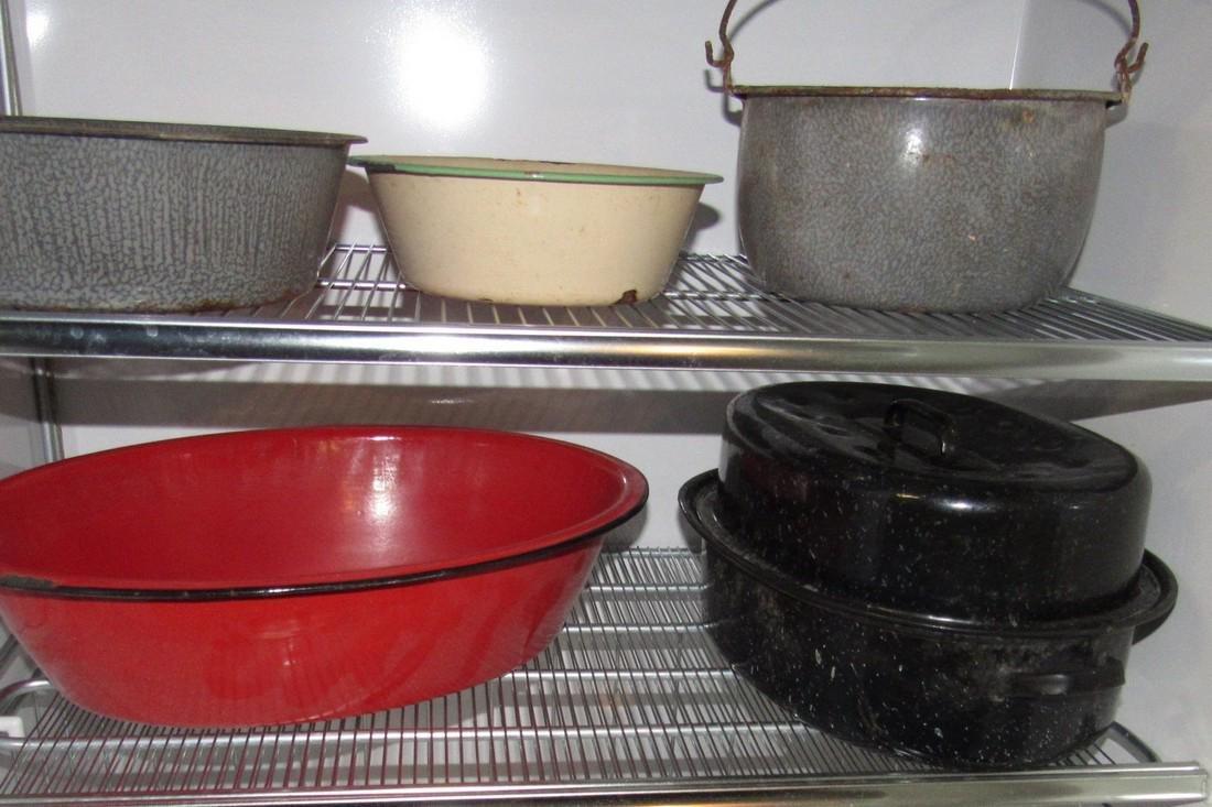 Lot of Agateware Pots Pans Misc - 4