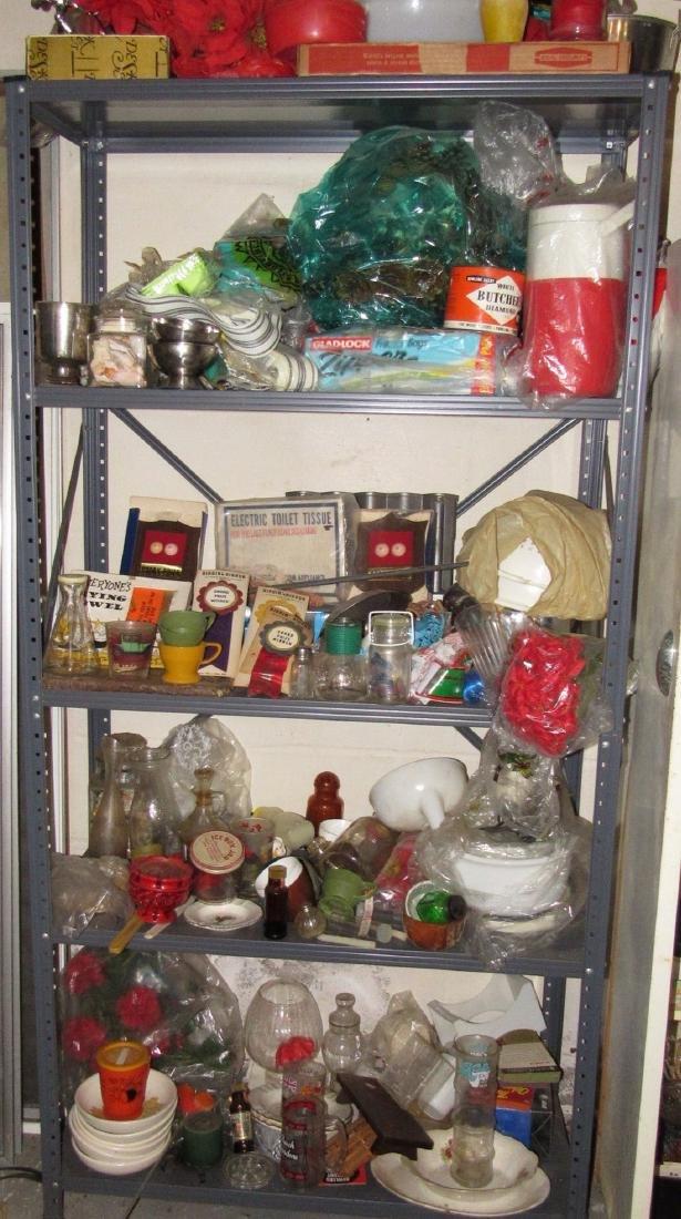 Metal Shelf & Contents