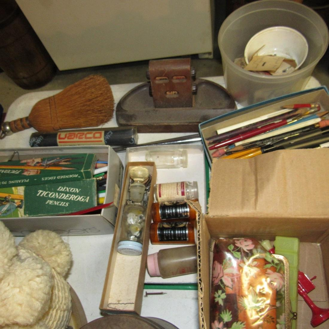 Porcelain Top One Drawer Table & Contents - 4